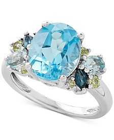 Blue Topaz (5-5/8 ct. t.w.) & Peridot (1/6 ct. t.w.) Ring in Sterling Silver