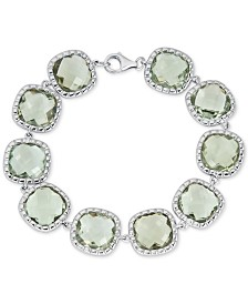 Green Quartz Link Bracelet (40 ct. t.w.) in Sterling Silver