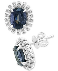 EFFY® Gray Spinel (3-1/10 ct. t.w.) & Diamond (1/3 ct. t.w.) Stud Earrings in 14k White Gold