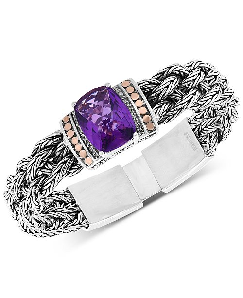 EFFY Collection EFFY® Amethyst Bracelet (9-1/2 ct. t.w.) in Sterling Silver & 18k Gold
