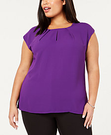 Kasper Plus Size Pleated Sleeveless Blouse