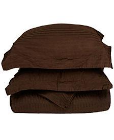 Superior 300 Thread Count Premium Combed Cotton Stripe Duvet Set - Full/Queen - White