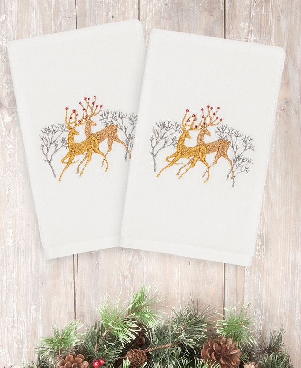 Linum Home CLOSEOUT!  Christmas Deer 100% Turkish Cotton 2-Pc. Hand Towel Set