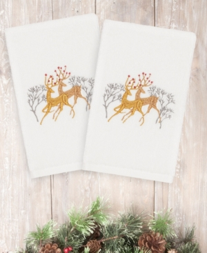 Image of Closeout! Linum Home Christmas Deer 100% Turkish Cotton 2-Pc. Hand Towel Set Bedding