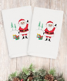 CLOSEOUT! Linum Home Christmas Santa Waving 100% Turkish Cotton 2-Pc. Hand Towel Set
