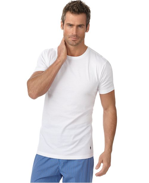 84aefc76 Polo Ralph Lauren Men's Undershirt, Slim Fit Classic Cotton Crews 3 Pack ...
