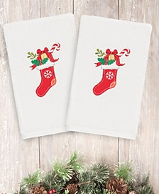 CLOSEOUT!  Christmas Stocking 100% Turkish Cotton 2-Pc. Hand Towel Set