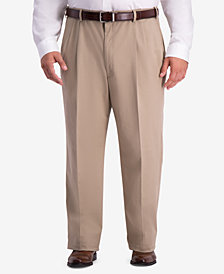 Haggar Men's Big & Tall W2W PRO Relaxed-Fit Performance Stretch Non-Iron Pleated Casual Pants