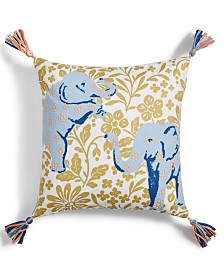"""Whim by Martha Stewart Collection Elephant 18"""" x 18""""  Decorative Pillow, Created for Macy's"""