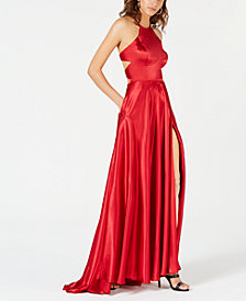 Blondie Nites Juniors' Tie-Back Evening Gown