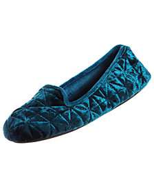 Isotoner Crushed Velour Closed-Back Slippers with Memory Foam