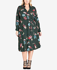 City Chic Trendy Plus Size Printed Shirtdress