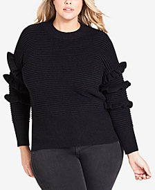City Chic Trendy Plus Size Ruffled Sweater
