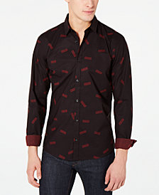 HUGO Men's Logo-Print Slim-Fit Shirt