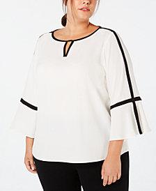 Calvin Klein Plus Size Contrast-Trim Keyhole Top