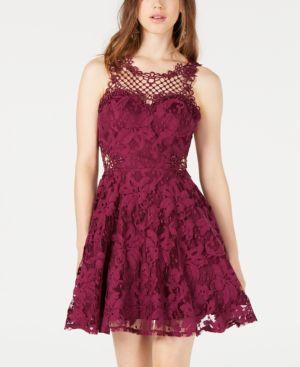 CITY STUDIOS | City Studios Juniors' Lace Applique Fit & Flare Dress | Goxip