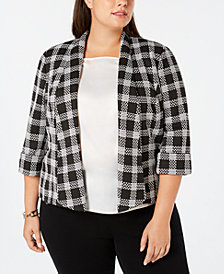 Kasper Plus Size Plaid Open-Front Jacket