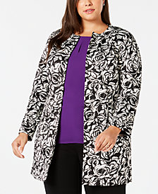 Kasper Plus Size Rose-Print Scuba Jacket