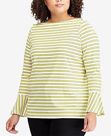 Lauren Ralph Lauren Plus Size Bell-Sleeve Cotton Top