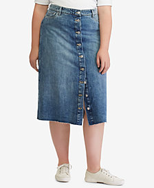 Lauren Ralph Lauren Plus Size Denim Midi Skirt