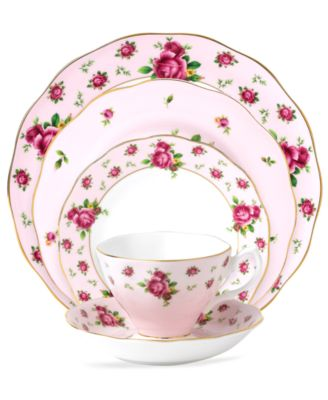 Revive a classic china pattern with Pink Vintage dinnerware. Tiny buds and lush blossoms plucked from the original Royal Albert collection flower on pink ...  sc 1 st  Macy\u0027s & Royal Albert Old Country Roses Pink Vintage Collection - Fine China ...