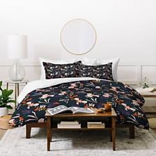 Deny Designs Holli Zollinger Anthology Of Pattern Seville Garden Black Twin Duvet Set
