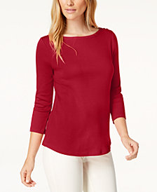 Charter Club Boat-Neck Button-Shoulder Top, Created  for Macy's