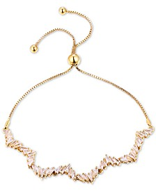 Tiara Cubic Zirconia Wavy Bolo Bracelet in 14k Gold-Plated Sterling Silver