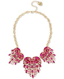 "Betsey Johnson Gold-Tone Crystal Heart Fringe Statement Necklace, 18"" + 3"" extender"