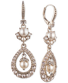 Marchesa Gold-Tone Cubic Zirconia & Imitation Pearl Double Drop Earrings