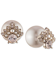 Marchesa Gold-Tone Cubic Zirconia & Imitation Pearl Front-and-Back Earrings