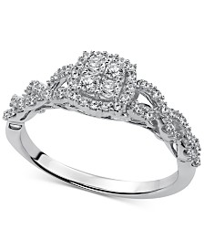 Diamond Halo Cluster Engagement Ring (1/3 ct. t.w.) in 14k White Gold
