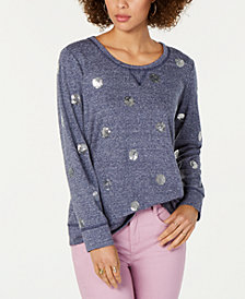 Style & Co Sequined-Dot Sweatshirt, Created for Macy's