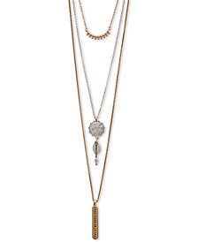 "Lucky Brand Tri-Tone Crystal Triple-Layer Pendant Necklace, 18"" + 3"" extender"