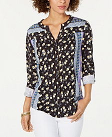 Style & Co Petite Printed Roll-Tab Top, Created for Macy's