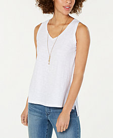 Style & Co Eyelet-Back Cotton Tank Top, Created for Macy's
