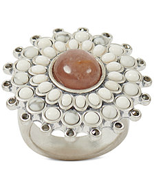 Lucky Brand Silver-Tone Multi-Stone Statement Ring