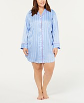 19f97d1f85 Charter Club Plus Size Contrast-Trimmed Printed Sleepshirt