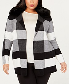 Plus Size Plaid Cardigan with Removable Faux-Fur Collar