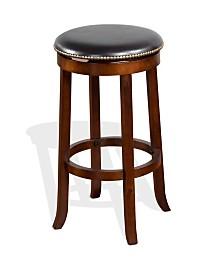 "30""H Cappuccino Backless Swivel Barstool, Cushion Seat"