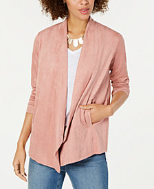 Style & Co Petite Draped Faux-Suede Cardigan, Created for Macy's