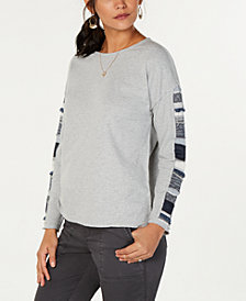 Style & Co Petite Cotton Mixed Media Sweatshirt, Created for Macy's
