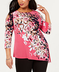 JM Collection Plus Size Printed Asymmetric Tunic Top, Created for Macy's
