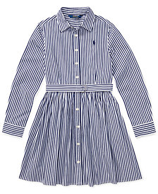 Polo Ralph Lauren Big Girls Striped Cotton Shirtdress