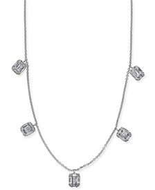 """Diamond Baguette Cluster 17-1/2"""" Statement Necklace (5/8 ct. t.w.) in 14k White Gold"""