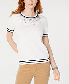 Tommy Hilfiger Embellished Striped Cotton Sweater, Created for Macy's
