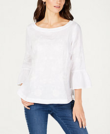 Charter Club Petite Embroidered Bell-Sleeve Top, Created for Macy's