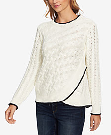 CeCe Cable-Knit Faux-Wrap Sweater