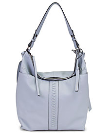 T Tahari Skyler Leather Whipstitch Bucket Bag