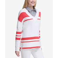 Deals on Calvin Klein Womens Striped V-Neck Sweater